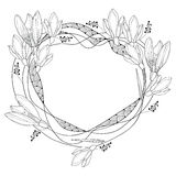 Vector round frame with ornate outline Snowdrop flowers or Galanthus isolated on white back. Floral elements for spring design. Stock Photo