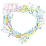 Vector round frame with ornate Snowdrop flowers or Galanthus in pastel colors isolated on white back. Outline floral elements. Stock Image