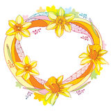 Vector round frame with outline narcissus or daffodil flower and leaves in orange and yellow isolated on white background. Stock Photography