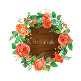 Vector round frame of red watercolor roses and berries on wooden Stock Images