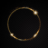 Vector round frame. Shining circle banner.  on black transparent background. Vector illustration Royalty Free Stock Photography