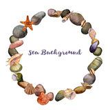 Vector round frame with watercolor drawing shells and sea stones Stock Photos