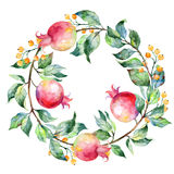 Vector round frame of watercolor pomegranate and berries. Stock Photo