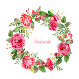 Vector round frame of watercolor roses and berries. Royalty Free Stock Photo