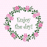 Vector round frame with watercolor roses. Floral pattern. Stock Photos