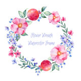Vector round frame of watercolor roses. pomegranate and berries.