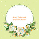 Vector round frame of white rose and other. Watercolor wreath. Stock Images