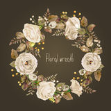 Vector round frame of white watercolor roses and berries. Stock Photos
