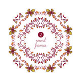 Vector round frames with hand-drawn autumn leaves Royalty Free Stock Images