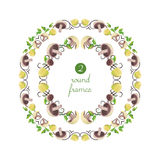 Vector round frames with mushrooms and parsley. On white field Stock Photography