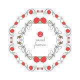 Vector round frames with red poppy Royalty Free Stock Photos