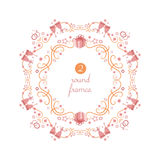 Vector round frames with wedding theme objects Royalty Free Stock Image