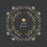 Vector round frames with white snowflakes and gold lines. On dark field Royalty Free Stock Photo