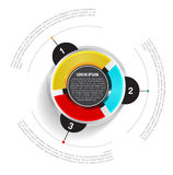 Vector round graph scheme with three colored sections Royalty Free Stock Image
