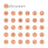 Vector Round Halloween Icons Stock Images