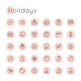 Vector Round Holidays Icons. Isolated on white background Stock Photography