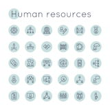 Vector Round HR Icons Stock Photo