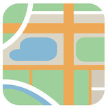 Vector round icon of clean city map with roads, green zone, rive. R, lake - isolated flat design illustration Royalty Free Stock Images