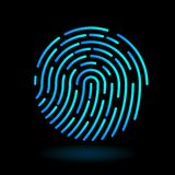 Vector round icon fingerprint symbol of finger in line art design on black background - neon blue cyan color. Vector round icon fingerprint - symbol of finger in stock illustration