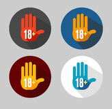 Vector Round Icon of 18 sign like hand. Vector Round Icon of 18 sign on white Stock Photo