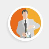Vector round icon silhouette successful man Stock Image