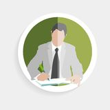 Vector round icon silhouette successful man Royalty Free Stock Images