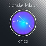 Vector round icon with Zodiac constellation ARIES. Vector round icon with Zodiac constellation ARIES on a transparent background with inscription. Colored Royalty Free Stock Photography