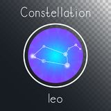 Vector round icon with Zodiac constellation LEO. Vector round icon with Zodiac constellation LEO on a transparent background with inscription. Colored Royalty Free Stock Photo