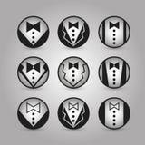 Vector round icons jacket. set Stock Photos