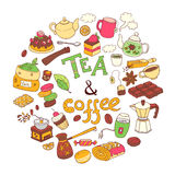 Vector round illustration, doodle tae and coffee. Equipment and. Dessert, spoon, sweets, cake, cup, teapot bakery and cookery Color Lettering Royalty Free Stock Photos