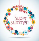 Vector round illustration with summer flowers Royalty Free Stock Photography