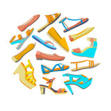 Vector round isolated shoes composition Stock Images