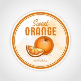 Vector round label of fruits on watercolor background, orange. Food label Stock Photo