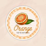 Vector round label, orange on a sand background. Food label Royalty Free Stock Photo