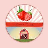 Vector round label, strawberry jam or juice Royalty Free Stock Images