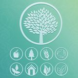 Vector round labels with tree and nature icons. Set with ecology signs and symbols Royalty Free Stock Images