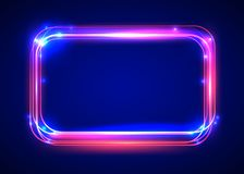 Vector round light frame. Shining square banner. Stock Image