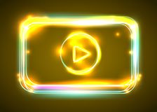 Vector round light video player frame. Shining square banner. Royalty Free Stock Photos