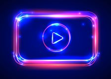 Vector round light video player frame. Shining square banner. Stock Photo