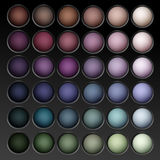 Vector Round MultiColored Eye Shadows palette. Vector Round MultiColored Pastel Light Brown Cream Ocher Olive Yellow Green Bright Blue Turquoise Pink Violet Royalty Free Stock Image