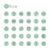 Vector Round Office Icons Stock Images