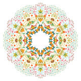 Vector round ornament. Vector illustration with floral pattern for print, embroidery Stock Images