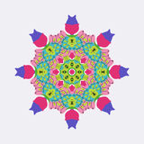 Vector round ornament bright colors. Royalty Free Stock Image