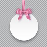 Vector round paper banner hanging on pink ribbon with bow. White post note with pink ribbon and bow  on Royalty Free Stock Photos