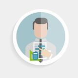 Vector round paper icon researcher successful man. Vector round paper icon successful man researcher with accounts calculator, ruler flat design style for Stock Images