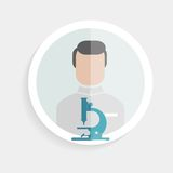 Vector round paper icon researcher successful man Royalty Free Stock Photography