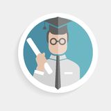 Vector round paper icon successful man Royalty Free Stock Photos