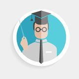 Vector round paper icon successful man Stock Photography