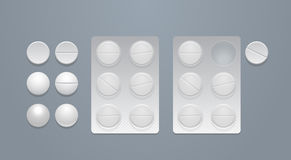 Vector round pills and blister packs. Vector round pills separately and in blister packs Stock Photography