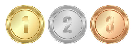 Vector round polished gold silver bronze medals the first second. And third place.  It can be used as a coin button icons Royalty Free Stock Image